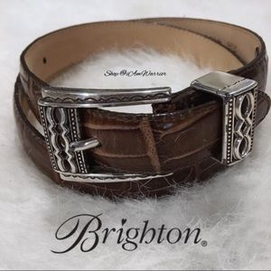Brighton brown leather engraved silver buckle belt